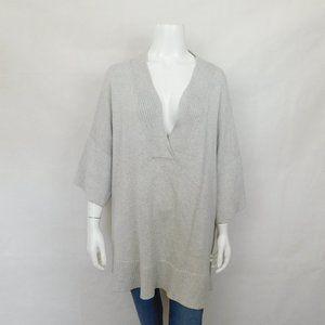 Lafayette 148 Gray Sweater V Neck Cotton Silk XXL